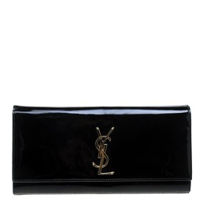 9c73cd26d57a Saint Laurent Cassandre Patent Black Leather Clutch - Tradesy