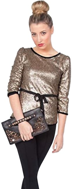 Item - Gold Sequin Evening Belted Celeste Sequin Soca Blouse Size 4 (S)