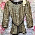 Darling Gold Sequin Evening Belted Celeste Sequin Soca Blouse Size 4 (S) Darling Gold Sequin Evening Belted Celeste Sequin Soca Blouse Size 4 (S) Image 2