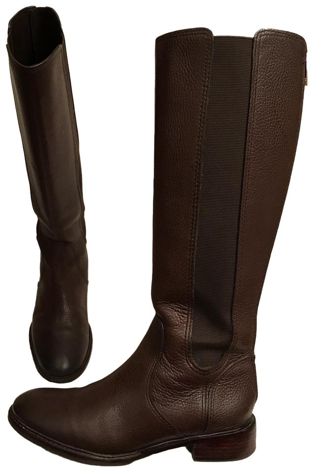 a9ae851fb828 Tory Burch Brown Leather Christy Stretch Panel Riding Boots Booties ...