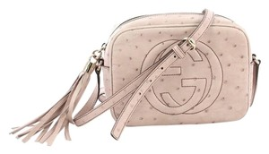 2e8864a23f5 Added to Shopping Bag. Gucci Gyccu Soho Ostrich Cross Body Bag. Gucci Soho Disco  Small Light Pink Ostrich Leather ...