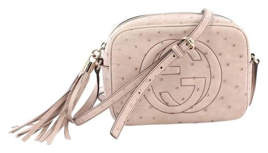 d0679a56f2653f Gucci Soho Disco Small Light Pink Ostrich Leather Cross Body Bag ...