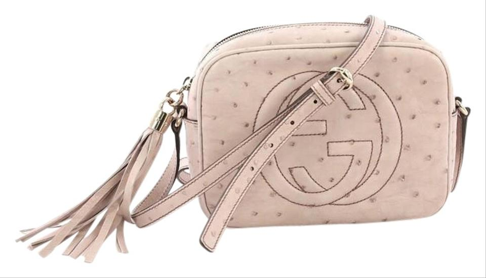 0848aa2fd4d Gucci Soho Disco Small Light Pink Ostrich Leather Cross Body Bag ...
