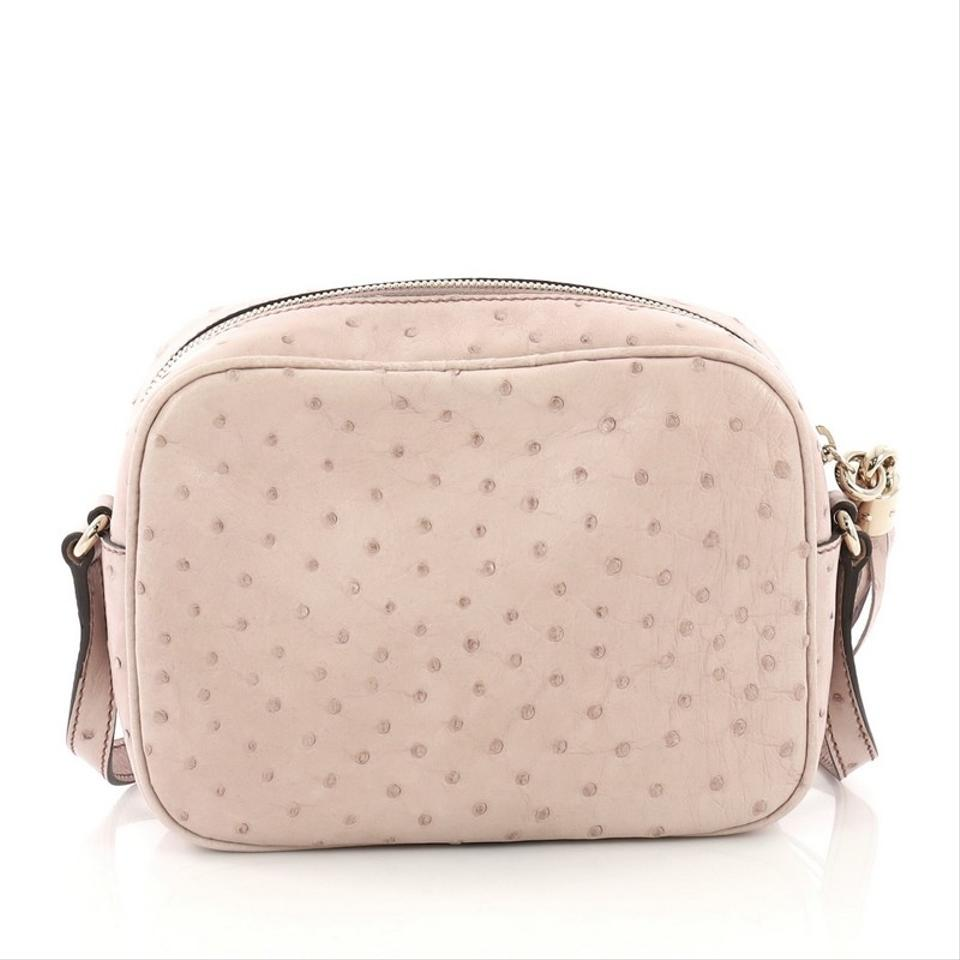 49820db4ffb Gucci Soho Disco Small Light Pink Ostrich Leather Cross Body Bag ...