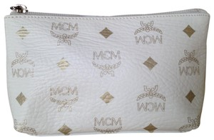 MCM MCM White Logo cosmetic pouch