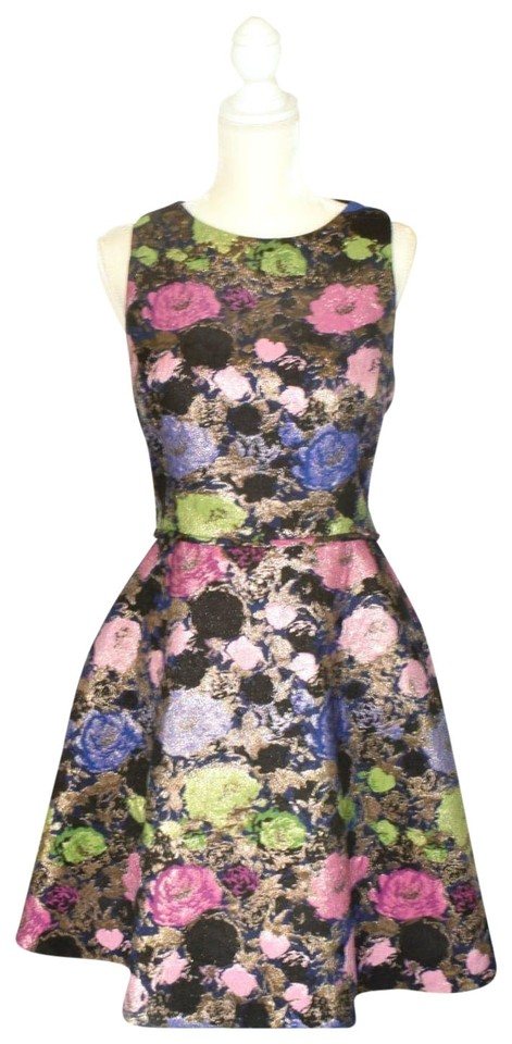 3f4c8cc11ae0b Tahari Navy Gold Multicolored Metallic Jacquard Floral Fit & Flare ...