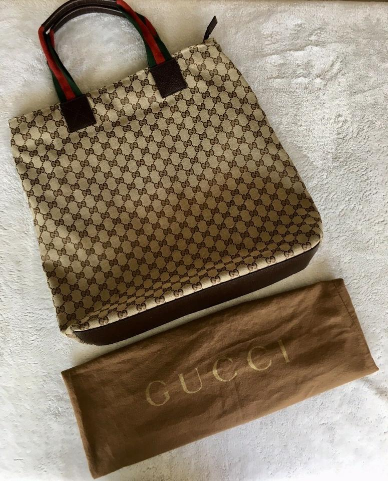 30e11df6765 Gucci Web Gg Extra Large Carry All Dust Tan Brown Canvas Tote - Tradesy