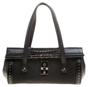 Gucci Leather Canvas Bamboo Bullet Studded Satchel in Black
