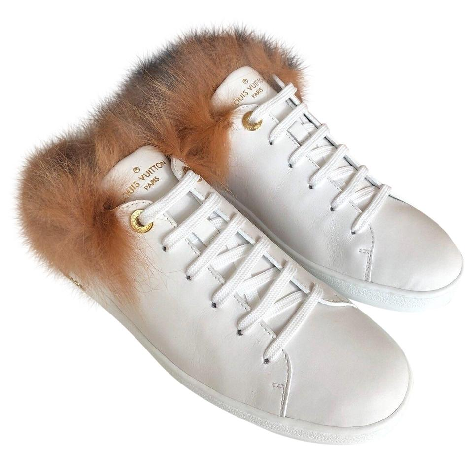 d308cd8a0341 Louis Vuitton White Leather Lace Up Low Top Fur Furry Sneakers ...