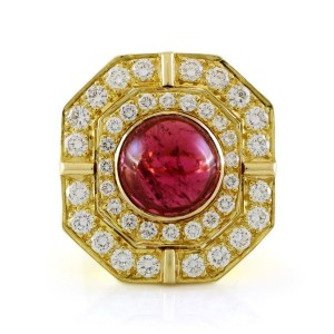 Other 18k Yellow Gold 5ct Carbon Red Tourmaline and Diamond Vintage Ring