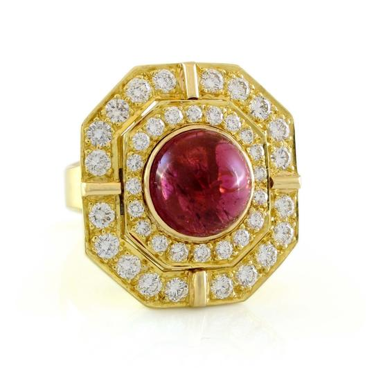 Other 18k Yellow Gold 5ct Carbon Red Tourmaline and Diamond Vintage Ring Image 1