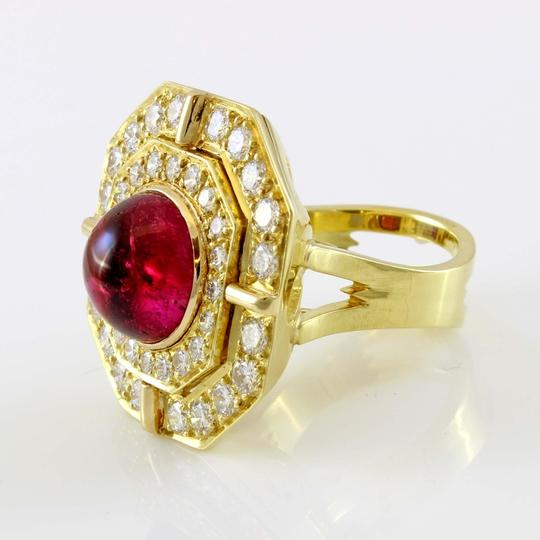 Other 18k Yellow Gold 5ct Carbon Red Tourmaline and Diamond Vintage Ring Image 2