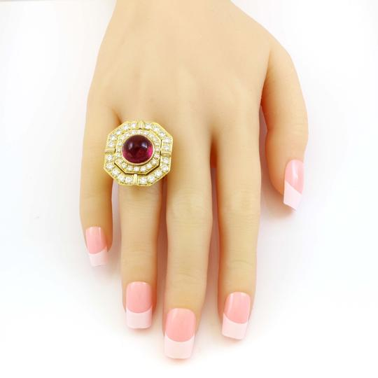 Other 18k Yellow Gold 5ct Carbon Red Tourmaline and Diamond Vintage Ring Image 3