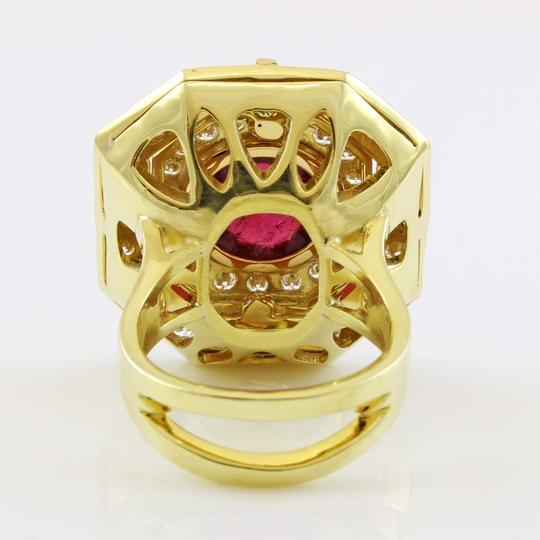 Other 18k Yellow Gold 5ct Carbon Red Tourmaline and Diamond Vintage Ring Image 4