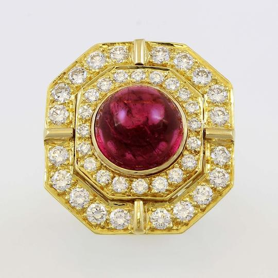 Other 18k Yellow Gold 5ct Carbon Red Tourmaline and Diamond Vintage Ring Image 5