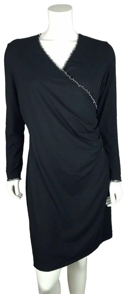 6436203ab38 Anne Fontaine Black Faux Wrap Embellished Work Office Dress. Size  12 ...