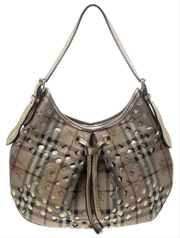 cee2af5d9ca9 Burberry Beige Gold Pvc and Haymarket Check Cutout Drawstring Beige Leather Hobo  Bag
