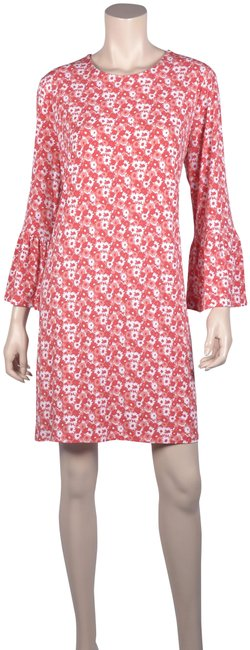 Item - Orange Jersey Bell Sleeves Floral Mid-length Short Casual Dress Size 16 (XL, Plus 0x)