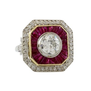Other Platinum 1.75CT Diamond and Ruby Estate Engagement Ring