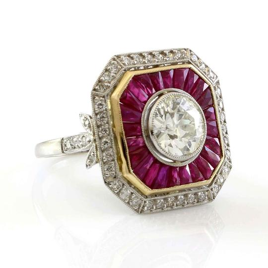 Other Platinum 1.75CT Diamond and Ruby Estate Engagement Ring Image 2