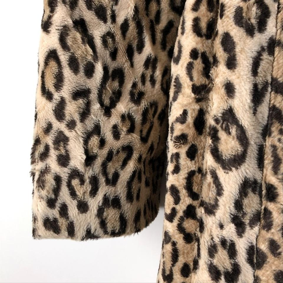 d02a0f528bfe MILLY Tan Brown Black Leopard Print Faux Fur Belted Trench Jacket ...