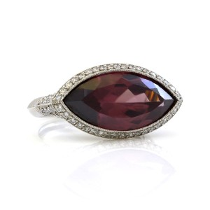 Other Platinum 5CT Marquise Plum Rubellite Diamond Estate Ring