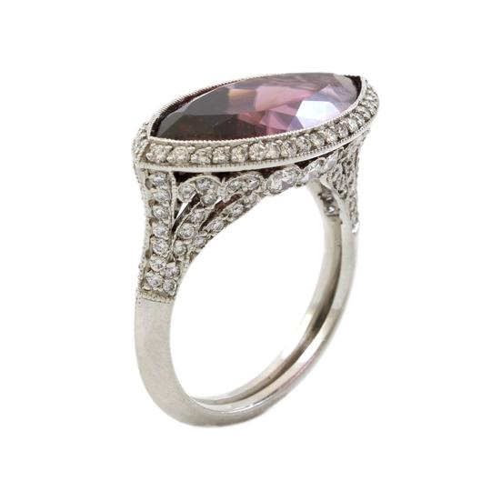 Other Platinum 5CT Marquise Plum Rubellite Diamond Estate Ring Image 1