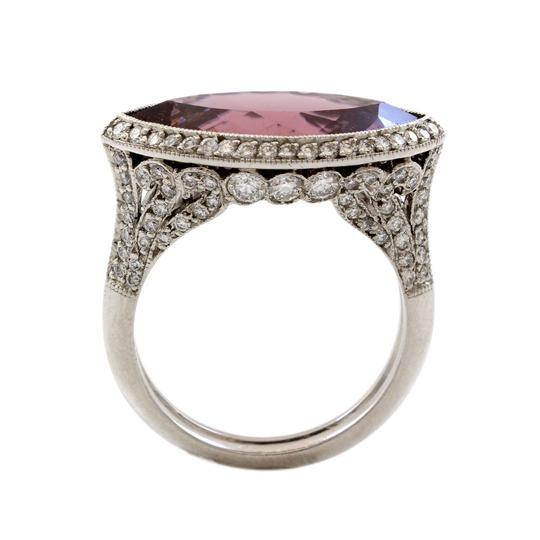 Other Platinum 5CT Marquise Plum Rubellite Diamond Estate Ring Image 2