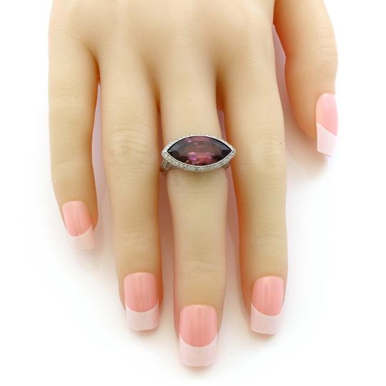 Other Platinum 5CT Marquise Plum Rubellite Diamond Estate Ring Image 3