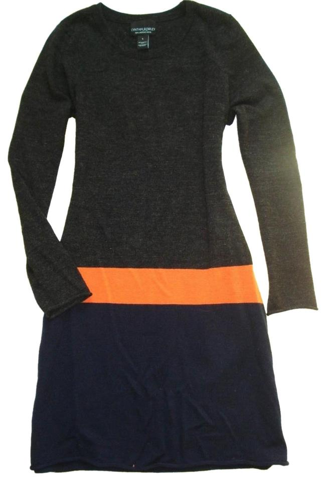 da3ef3416c8 Cynthia Rowley short dress Blue Gray Orange Merino Wool Color-blocking  Sweater Tunic Long Sleeve ...