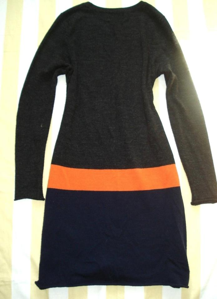888ced6d976 Cynthia Rowley short dress Blue Gray Orange Merino Wool Color-blocking  Sweater Tunic Long Sleeve. 12345
