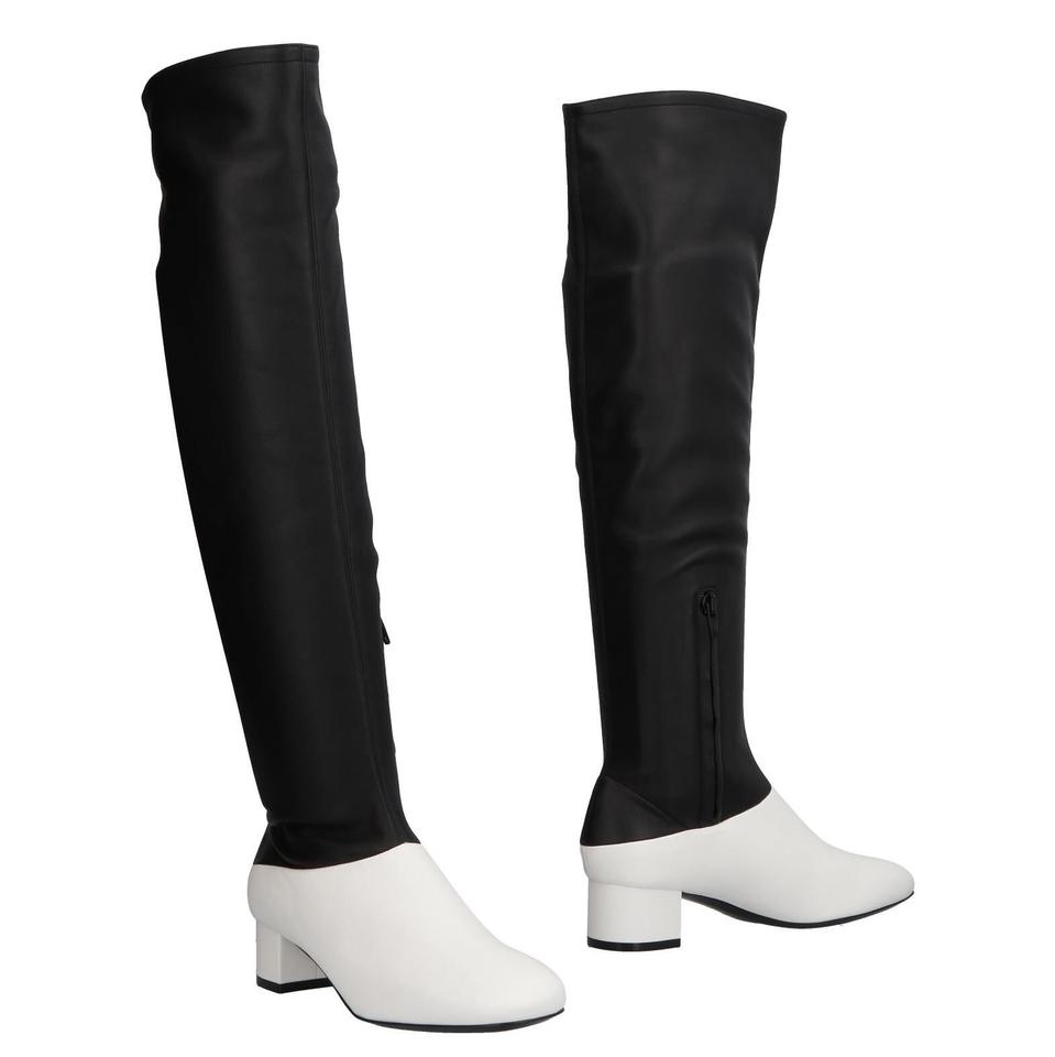 6c4b2c756b4 Céline Black White Resort 18 Colorblock Over The Knee Boots Booties ...