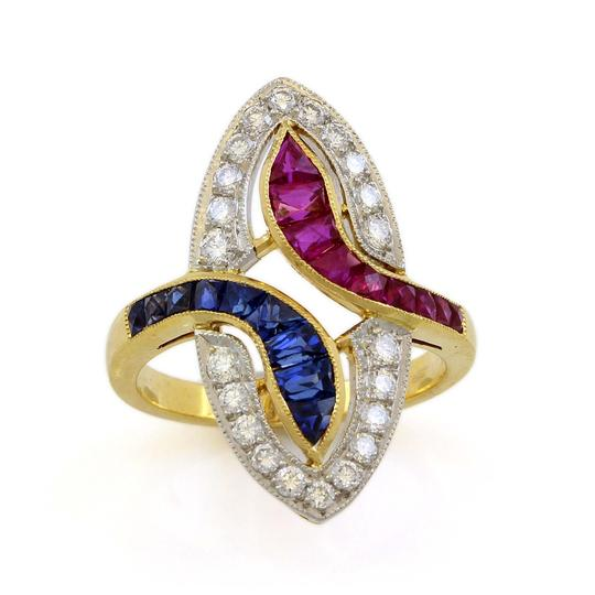 Other 18K Yellow Gold Diamond, Ruby and Sapphire Vintage Ring Image 1