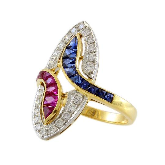 Other 18K Yellow Gold Diamond, Ruby and Sapphire Vintage Ring Image 2