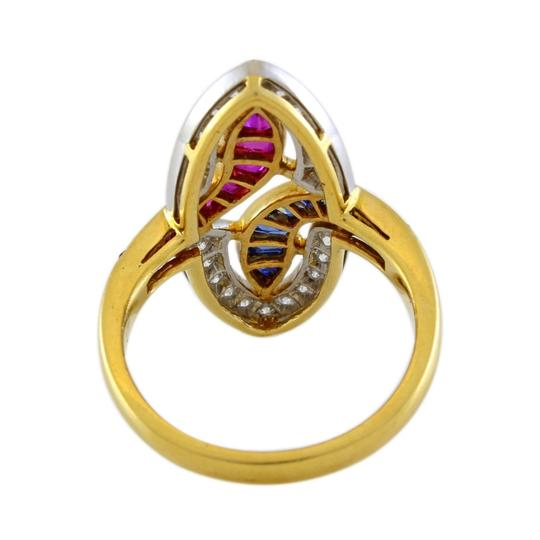 Other 18K Yellow Gold Diamond, Ruby and Sapphire Vintage Ring Image 4