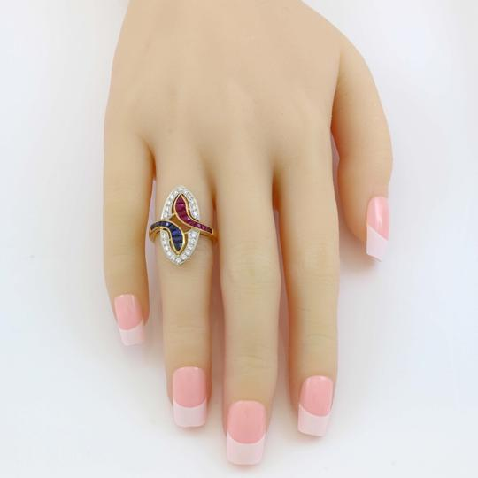 Other 18K Yellow Gold Diamond, Ruby and Sapphire Vintage Ring Image 5