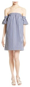 MILLY short dress navy Gingham Off Shoulde Summer on Tradesy