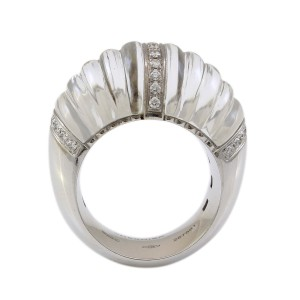 Other 18k White Gold Carved Rock Crystal and Diamond Ring by Vhernier #18300