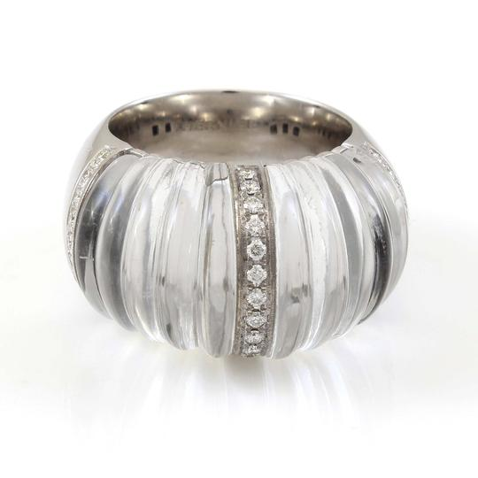 Other 18k White Gold Carved Rock Crystal and Diamond Ring by Vhernier #18300 Image 3