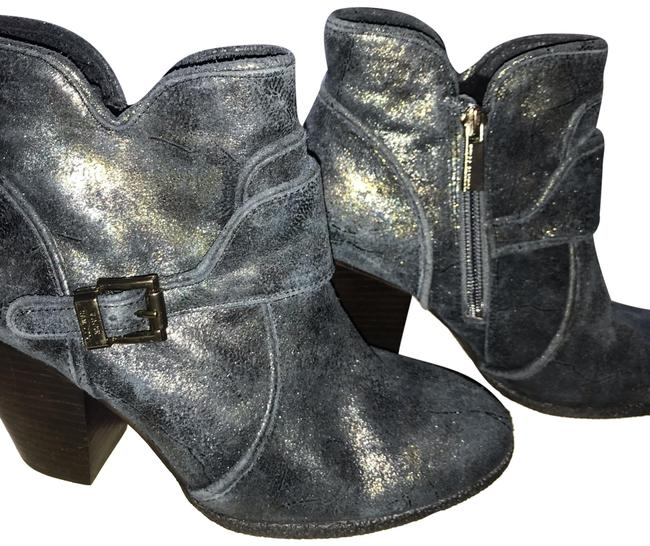 Item - Navy with Gold Metallic Overlay Ankle Boots/Booties Size US 7 Regular (M, B)