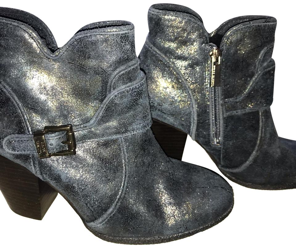 aa4aeb7b05c8f Vince Camuto Navy with Gold Metallic Overlay Ankle Boots/Booties ...