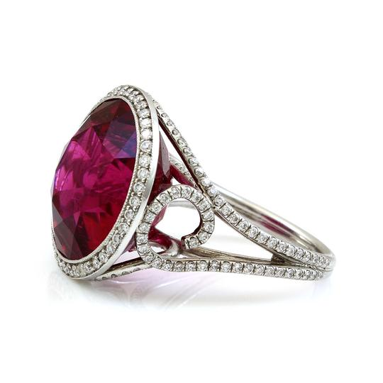 Vintage jewelry by Wolf Platinum 15 CT Brilliant Red Tourmaline Diamond Estate Cocktail Ring Image 2