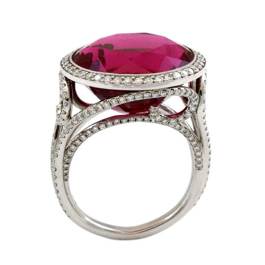 Vintage jewelry by Wolf Platinum 15 CT Brilliant Red Tourmaline Diamond Estate Cocktail Ring Image 1