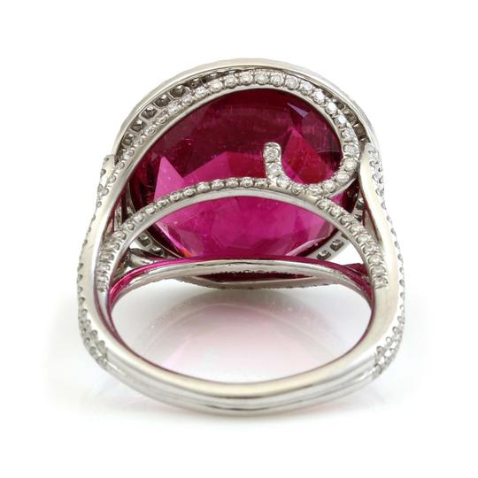 Vintage jewelry by Wolf Platinum 15 CT Brilliant Red Tourmaline Diamond Estate Cocktail Ring Image 3