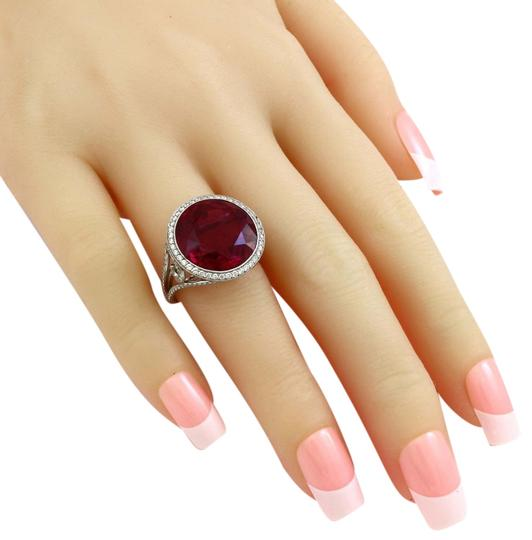 Vintage jewelry by Wolf Platinum 15 CT Brilliant Red Tourmaline Diamond Estate Cocktail Ring Image 4