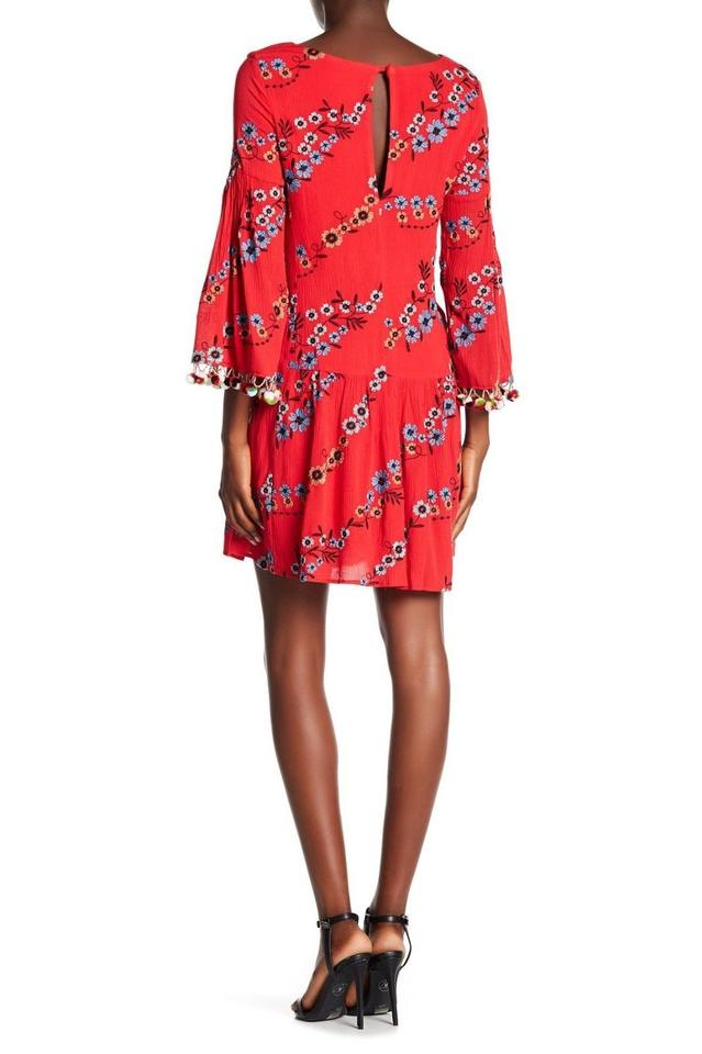 5aed9b44bfb9 Nicole Miller Red Embroidered Waist Drop Pom Short Casual Dress Size ...