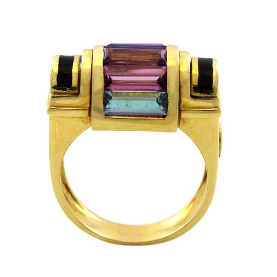 Other 18K Yellow Gold 1980's Multi-color Gemstone Ring Image 1