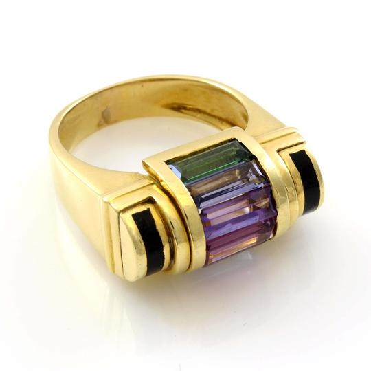 Other 18K Yellow Gold 1980's Multi-color Gemstone Ring Image 2