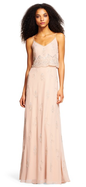 Item - Rose Gold Beaded Popover Gown with Scallop Design Long Formal Dress Size 14 (L)