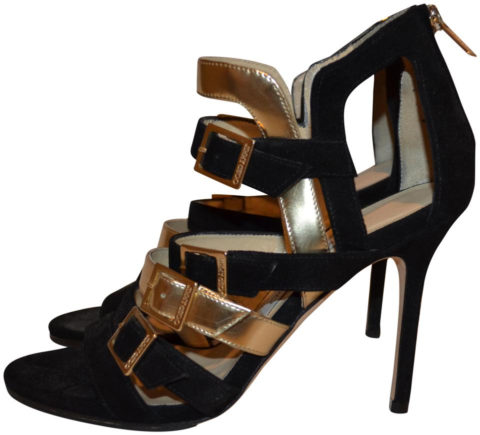 65e72d4d86bb Jimmy Choo Black Gold 7 Suede Strappy 4